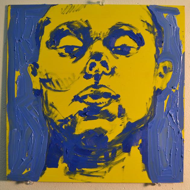 """Self Portrait in Blue,  oil on panel, 12"""" x 12"""", 2019"""