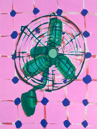 """Only Fans 05, acrylic on paper, 12"""" x 9"""", 2020"""