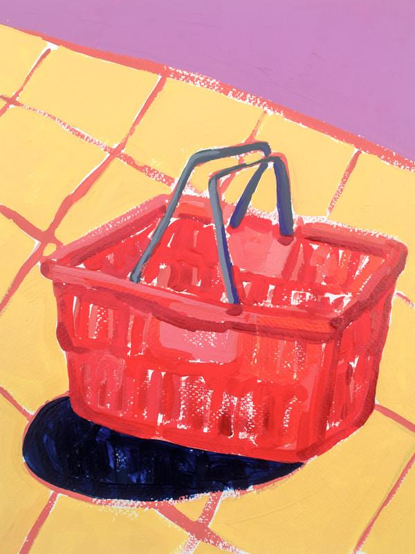 "Shopping Spree 06, acrylic on paper, 12"" x 9"", 2020"