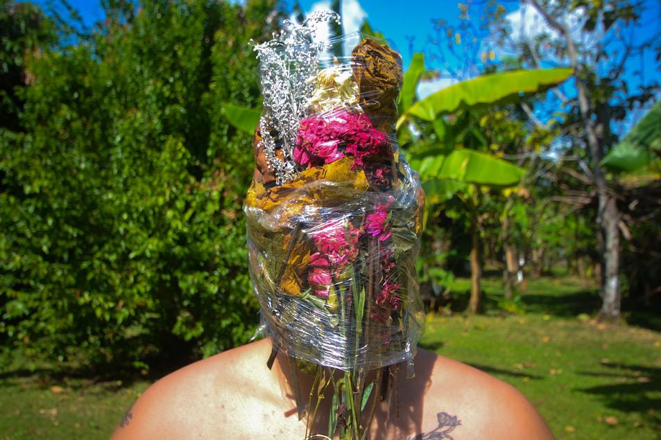 Asphyxia, plastic, flowers, 2019