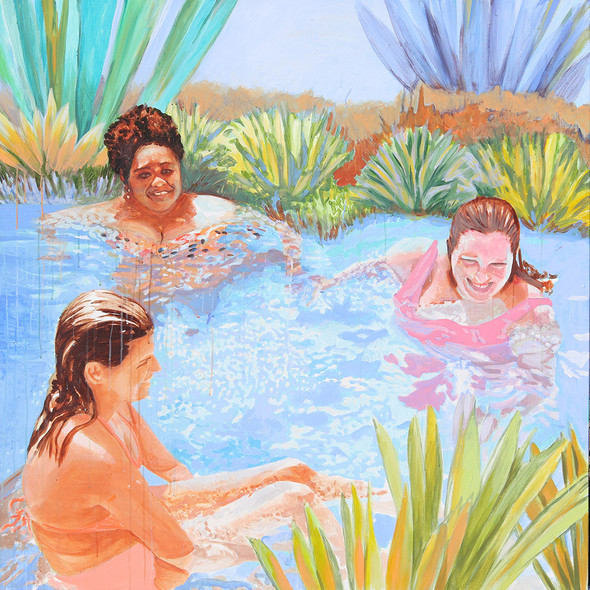 "Pool Painting No. 7, acrylic on canvas, 55"" x 55"", 2020"