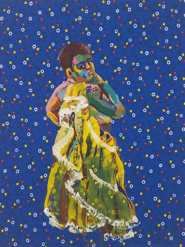 "Pollera Colorada 6, gouache on fabric, 20"" x 16"", 2019"