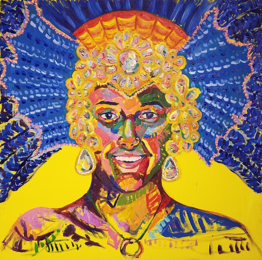 "Reina de carnaval, oil on canvas, 46"" x 46"", 2019"