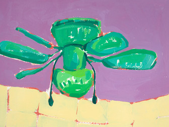 """Only Fans 15, acrylic on paper, 12"""" x 9"""", 2020"""