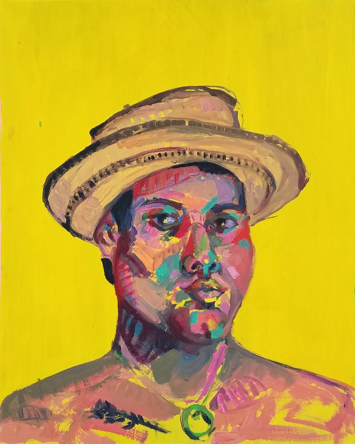 """Sombrero pintao, oil on wood, 30"""" x 24"""", 2019"""