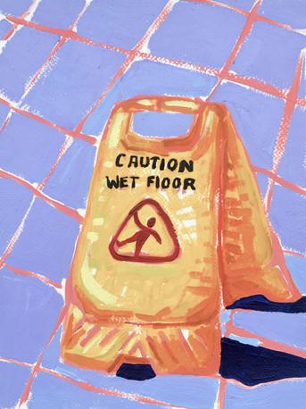 "Wet Floor (sign) 03, acrylic on paper, 12"" x 9"", 2020"