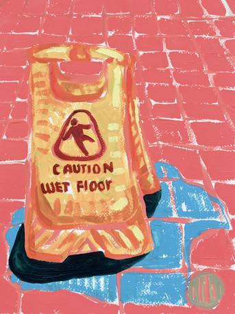 "Wet Floor (sign) 02, acrylic on paper, 12"" x 9"", 2020"