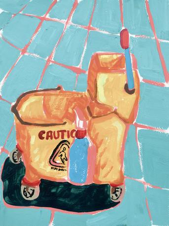 """Wet Floor (mop bucket) 02, acrylic on paper, 12"""" x 9"""", 2020"""