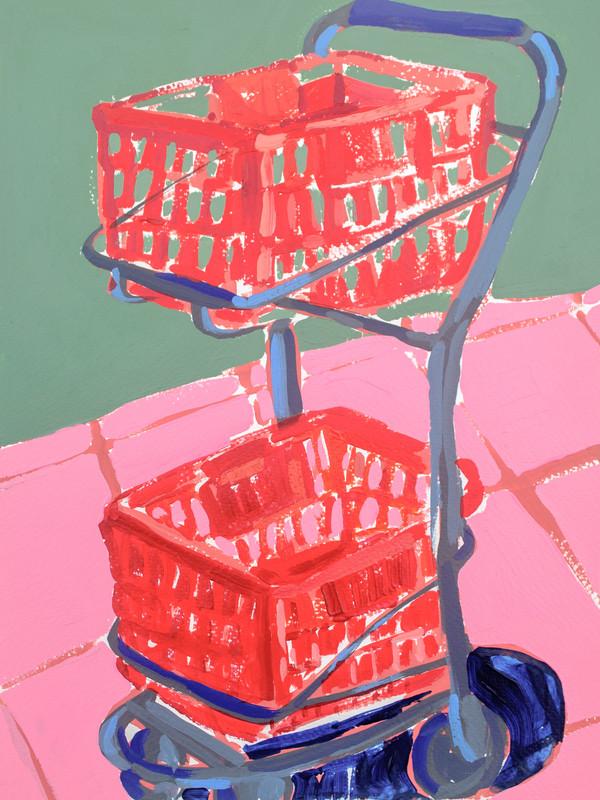 "Shopping Spree 03, acrylic on paper, 12"" x 9"", 2020"