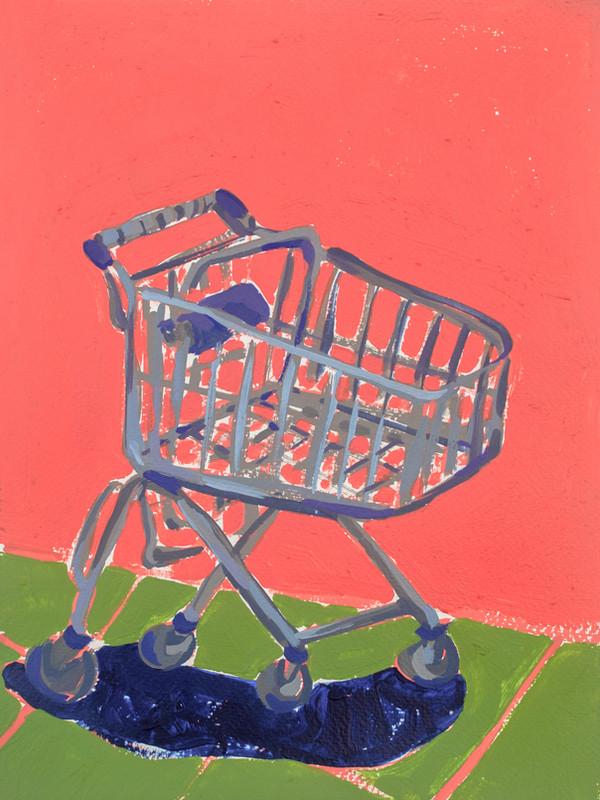 "Shopping Spree 02, acrylic on paper, 12"" x 9"", 2020"