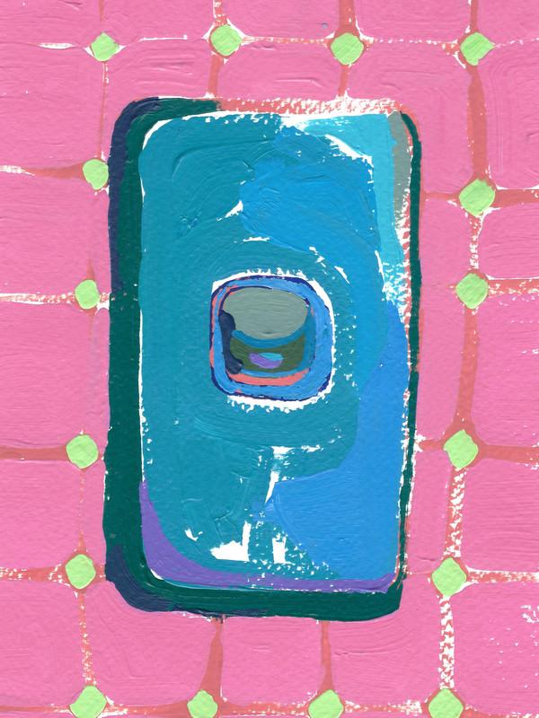 """Interruptores y tomacorrientes 04, acrylic on paper, """" x 4.5"""", 2020"""
