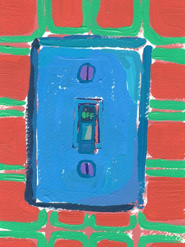 """Interruptores y tomacorrientes 06, acrylic on paper, 9"""" x 6"""", 2020"""