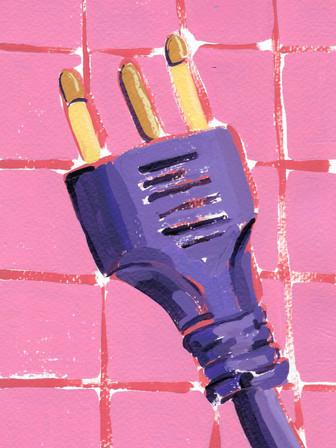 "Power Pug 05, acrylic on paper, 9"" x 6"", 2020"