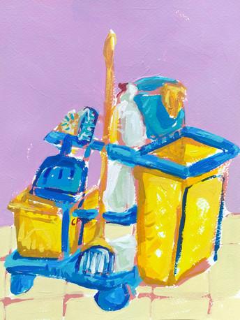 "Limpiatodo 04, acrilico sobre papel, 12"" x 9"", 2020"