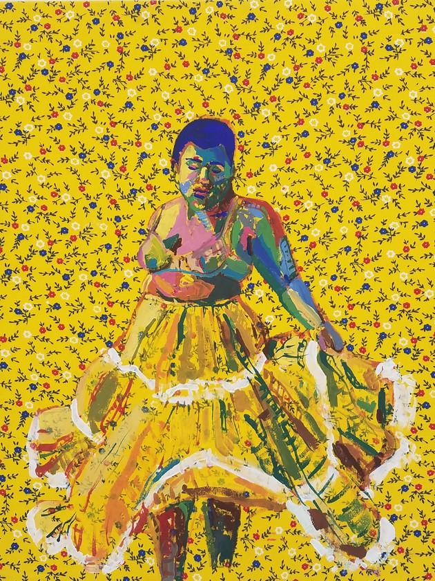 "Pollera Colorada 3, gouache on fabric, 20"" x 16"", 2019"