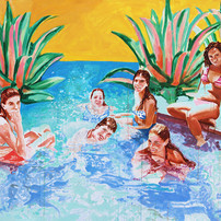 """Pool Painting No. 6, acrylic on canvas, 54"""" x 72"""", 2020"""