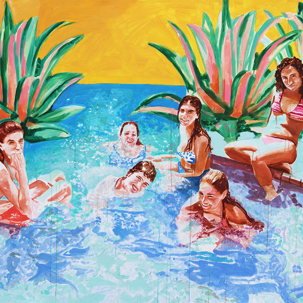 "Pool Painting No. 6, acrylic on canvas, 54"" x 72"", 2020"