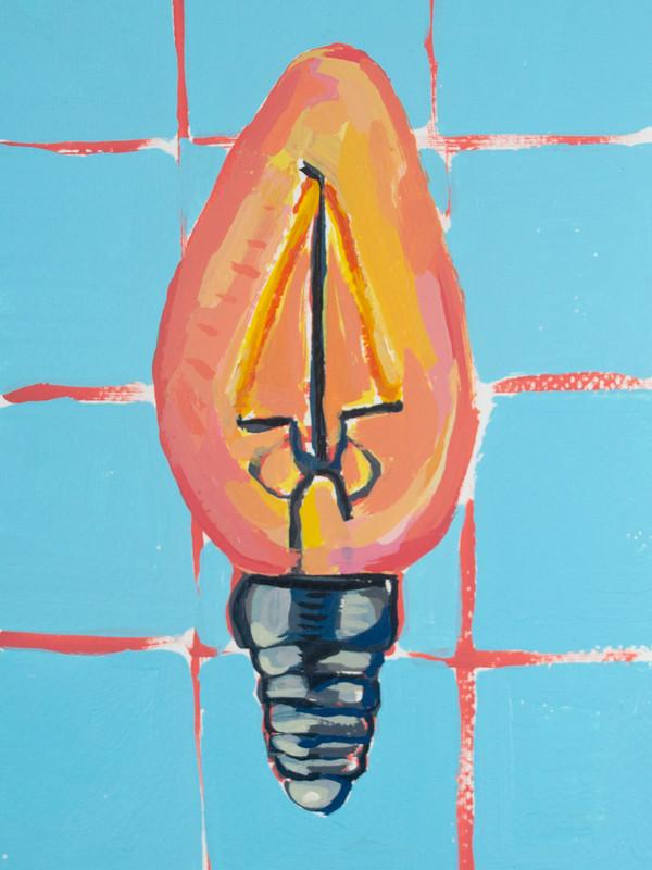 "Lightbulb 09, acrylic on paper, 9"" x 6"", 2020"