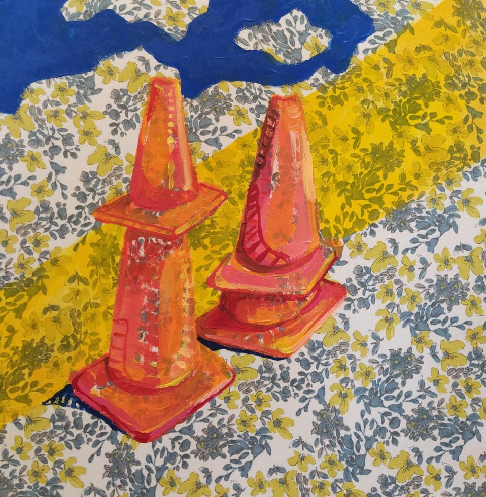 "Soldaditos Naranjas 2, acrylic on fabric, 12"" x 12"", 2020"