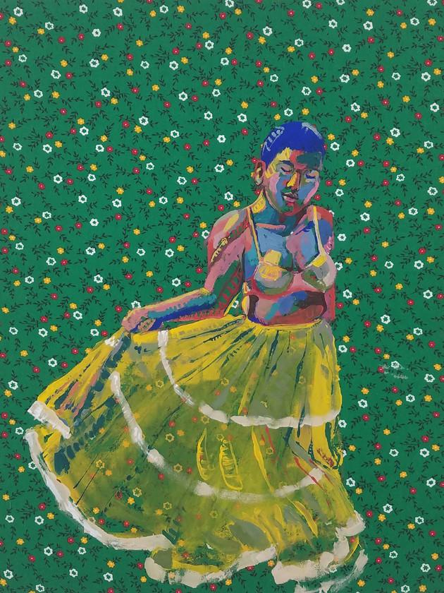 "Pollera Colorada 2, gouache on fabric, 20"" x 16"", 2019"
