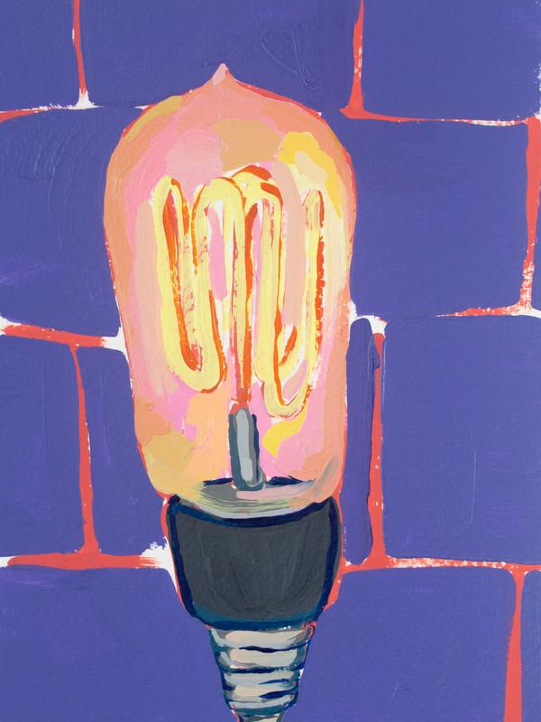 "Lightbulb 05, acrylic on paper, 9"" x 6"", 2020"