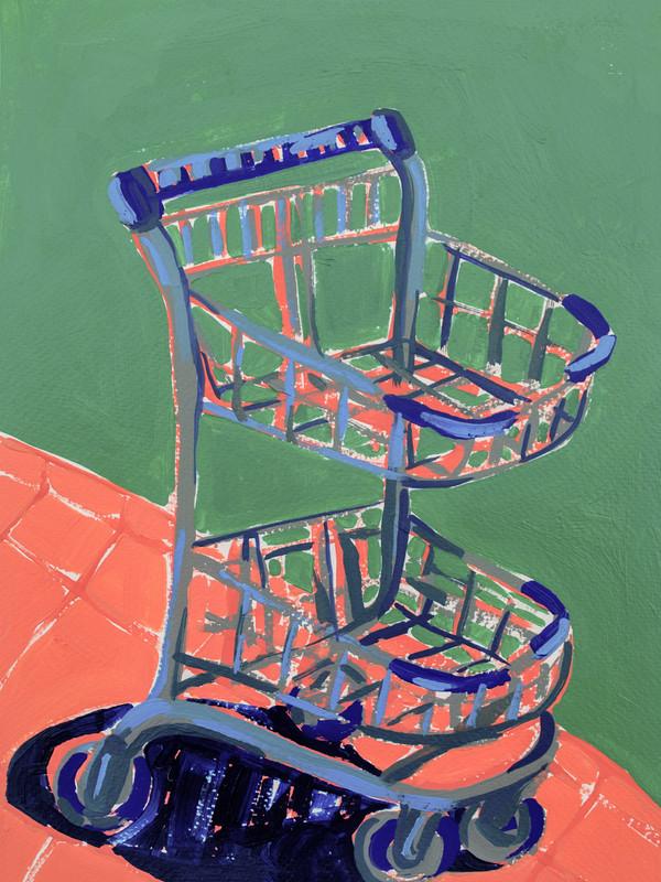 "Shopping Spree 04, acrylic on paper, 12"" x 9"", 2020"