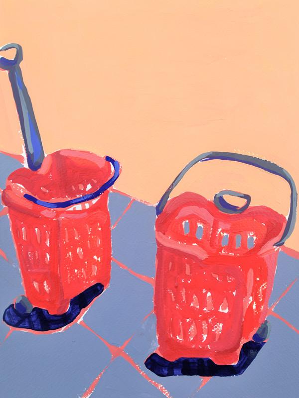 "Shopping Spree 08, acrylic on paper, 12"" x 9"", 2020"