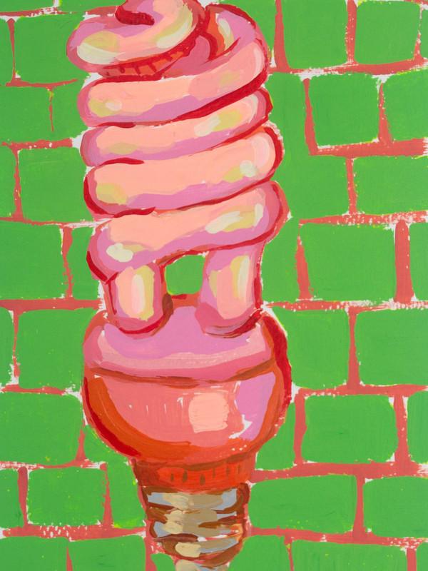 "Lightbulb 08, acrylic on paper, 9"" x 6"", 2020"