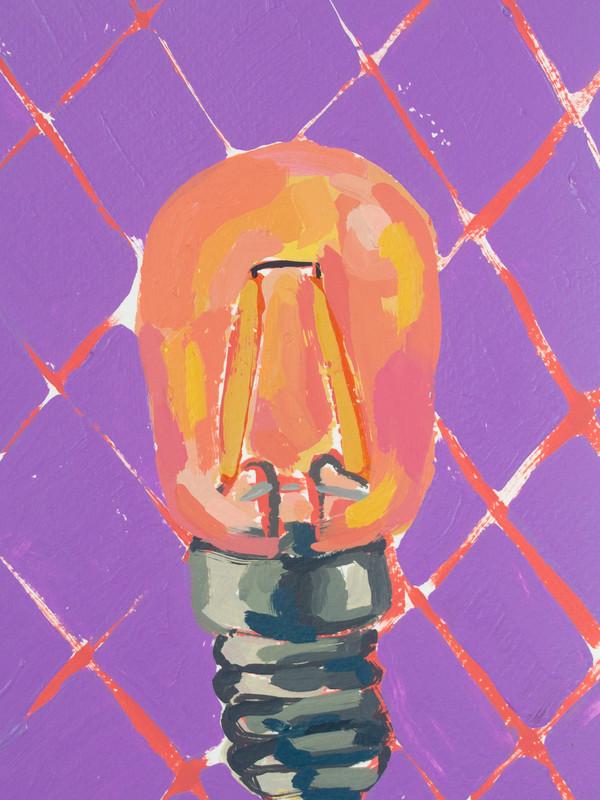 "Lightbulb 02, acrylic on paper, 9"" x 6"", 2020"