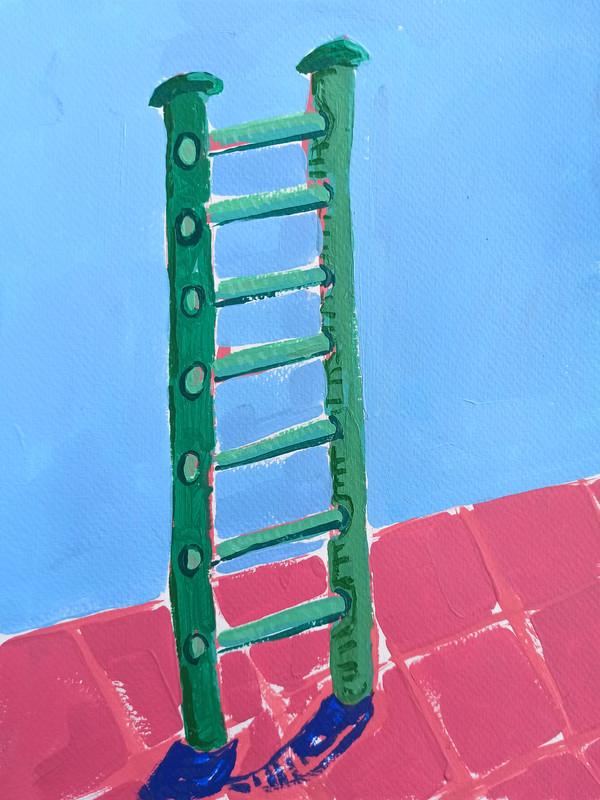 """EscaleraAaAa 02, acrylic on paper, 12"""" x 9"""", 2020"""