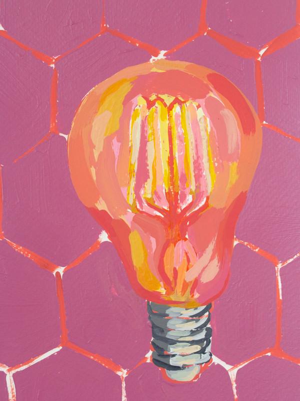 "Lightbulb 03, acrylic on paper, 9"" x 6"", 2020"