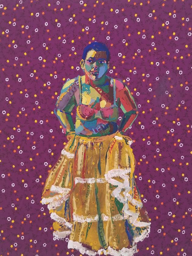 "Pollera Colorada 4, gouache on fabric, 20"" x 16"", 2019"