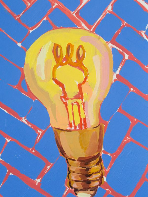"Lightbulb 04, acrylic on paper, 9"" x 6"", 2020"