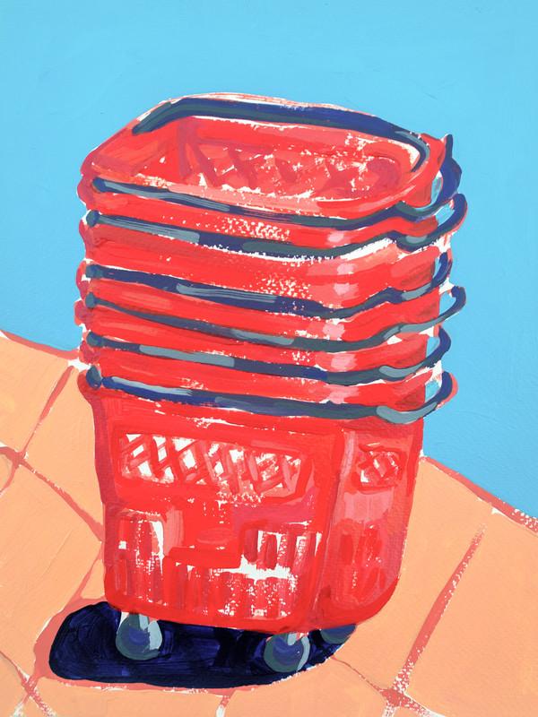 "Shopping Spree 07, acrylic on paper, 12"" x 9"", 2020"