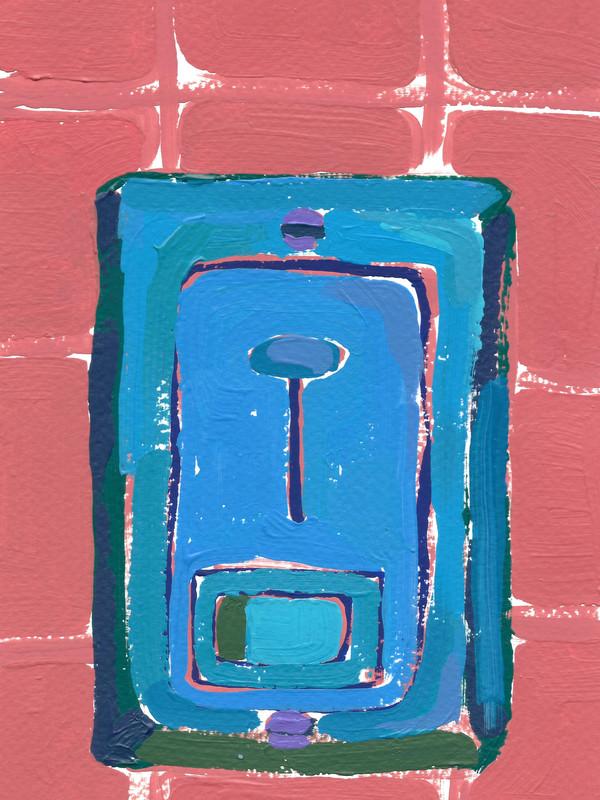 """Interruptores y tomacorrientes 05, acrylic on paper, 6"""" x 4.5"""", 2020"""