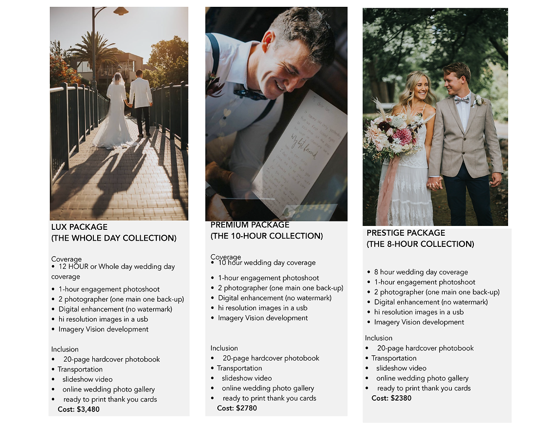 MICHELLE KENNEY PHOTOGRAPHY WEDDING PACK