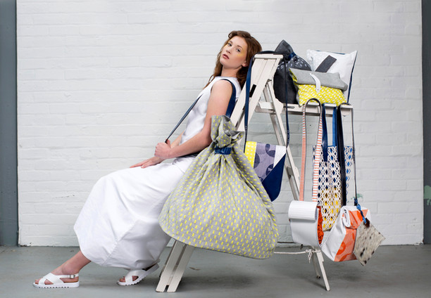 Photographer - Jade Starmore (Towzie Tykes Photography) Bag Designer - Kathryn Fuller  MUA & Hair Styling - Suzanne Christie  Model - Evgeniia Balashova Location - Biscuit Factory, Edinburgh.