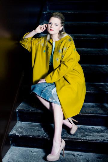 Photographer - Hannah Houston Designers:  Coat - Steph Davidson (Steph Davidson Textiles) Dress - Sample Dresses by Vaila Cameron MUA & Hair Stylist - Suzanne Christie  Model -  Holly Coltart Location - The Glasite Meeting House Edinburgh