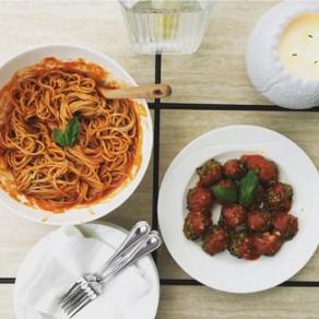 Zucchini Balls Over Spaghetti