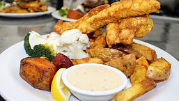 Weavers Mosgiel Restaurant Battered Blue Cod with Vegetables