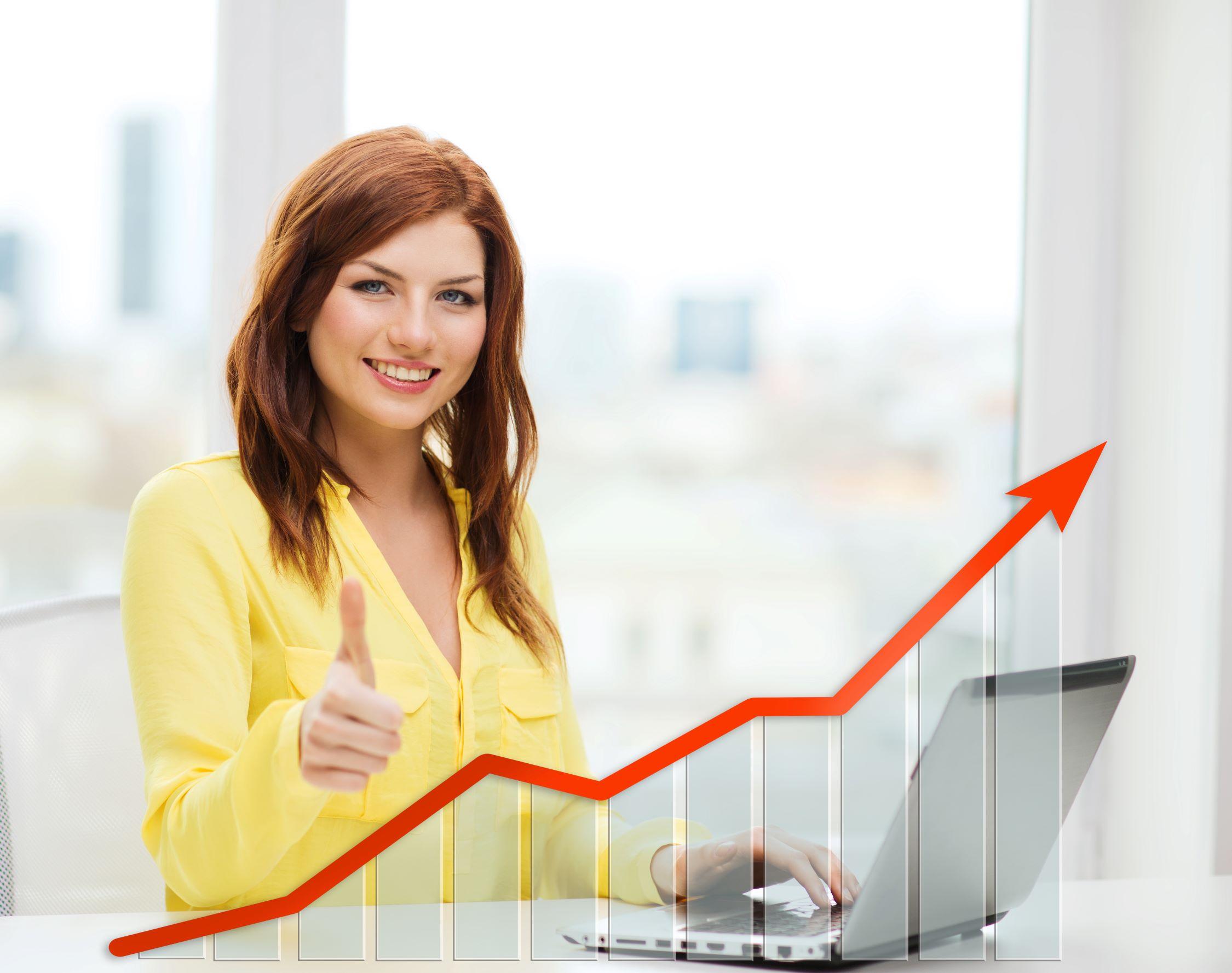 Woman celebrating sales
