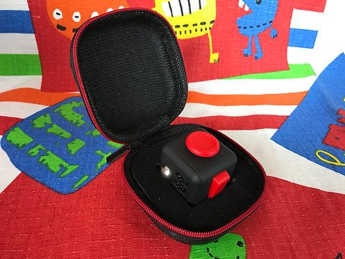 Fidget Cube negro con rojo + estuche