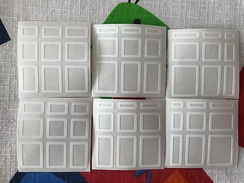 Stickers Mirror 3x3 vinil outline blanco