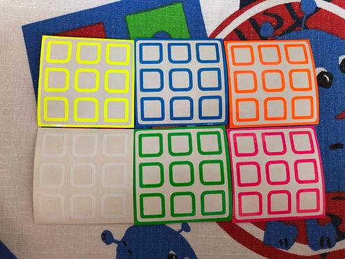 Stickers 3x3 outline vinil colores fosforescentes