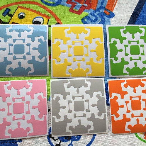 Stickers Gear Cube vinil colores pastel