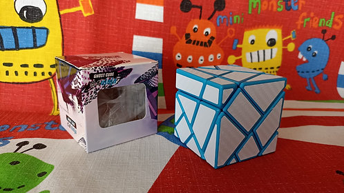 Ninja Ghost 3x3 base azul stickers fibra de carbono blanco