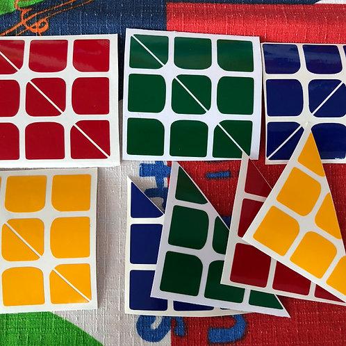 Stickers 3x3x3 4 colores triángulos vinil estándar