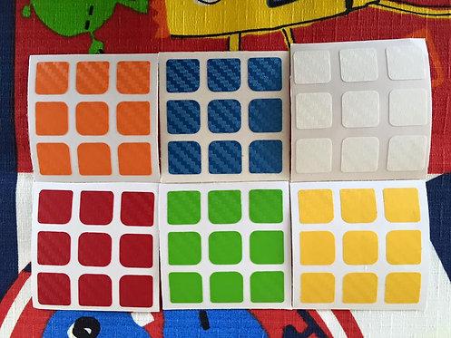 Stickers 3x3 fibra de carbono colores clásicos