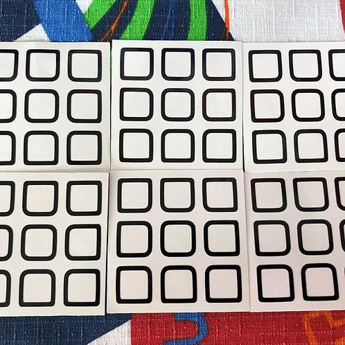 Stickers 3x3 outline vinil negro