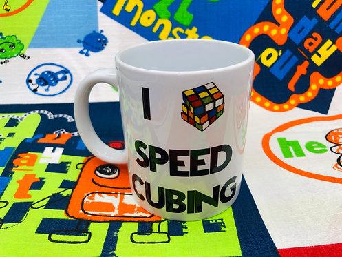 Taza I Love Speedcubing blanca